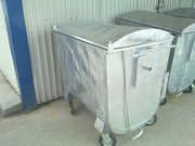 Евроконтейнер металлический оцинкованный для сбора мусора 1100 литров