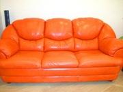 мебель мягкая. кожа. диван + кресло.